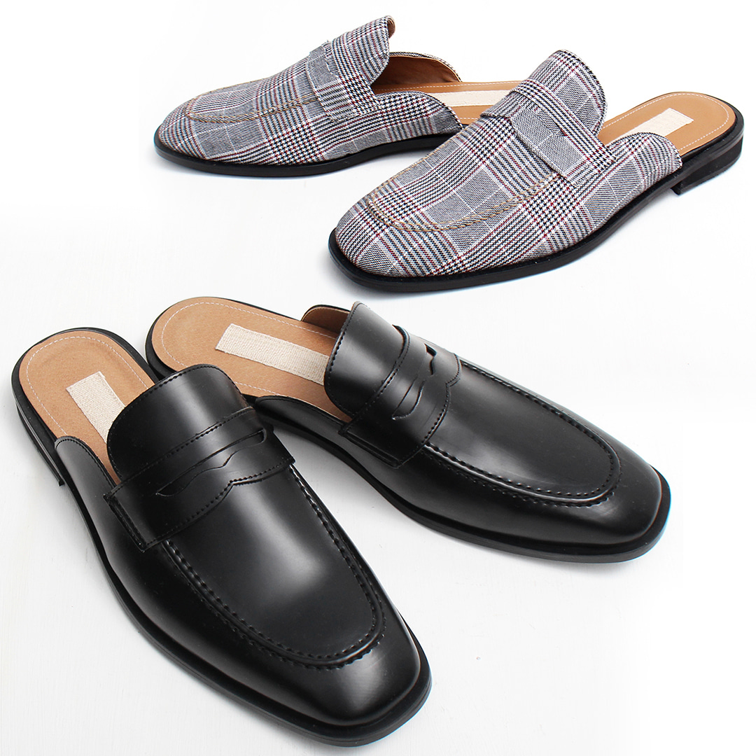 Faux Leather Check Backless Bloafers Slippers 001