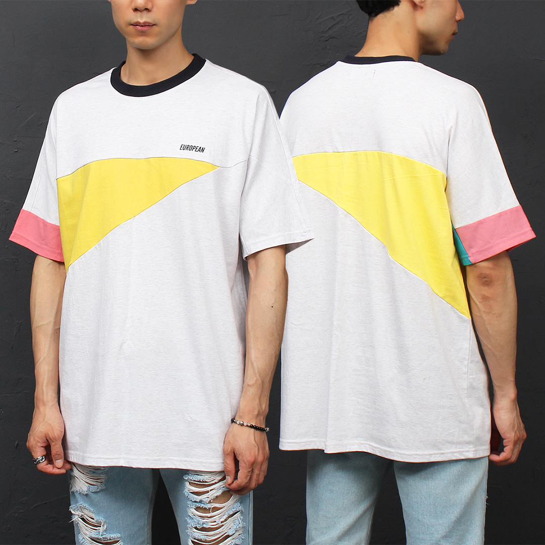 Loose Fit Contrast 3 Color Boxy Short Sleeve Tee 322