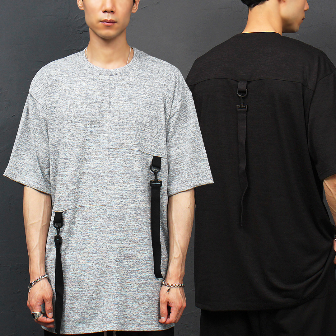 Techwear Look Loose Fit Buckle Webbing Strap Boxy Tee 324