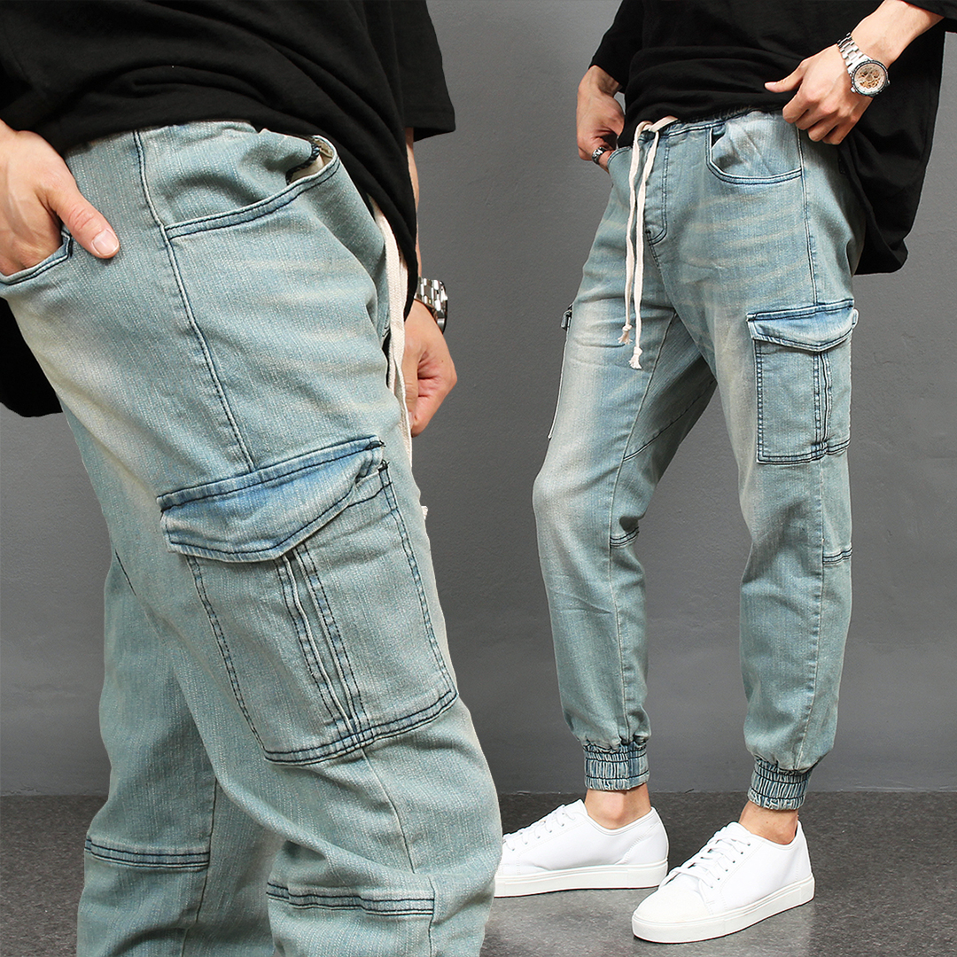 Vintage Faded Light Blue Denim Cargo Joggers 076