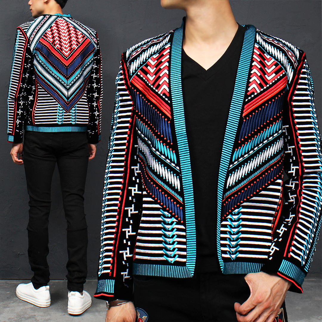 Unique Pastel Embroidery Stitch Slim Blazer Jacket 024