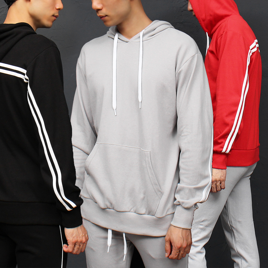 Double Line Gym Wear Pocket Hoodie 029