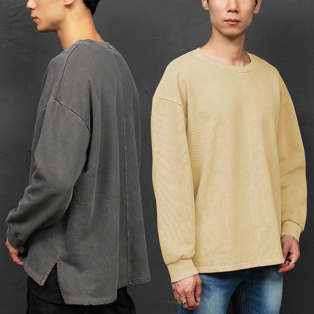 Pigment Washed Unbalanced Hem Split Side Boxy Sweatshirt 041