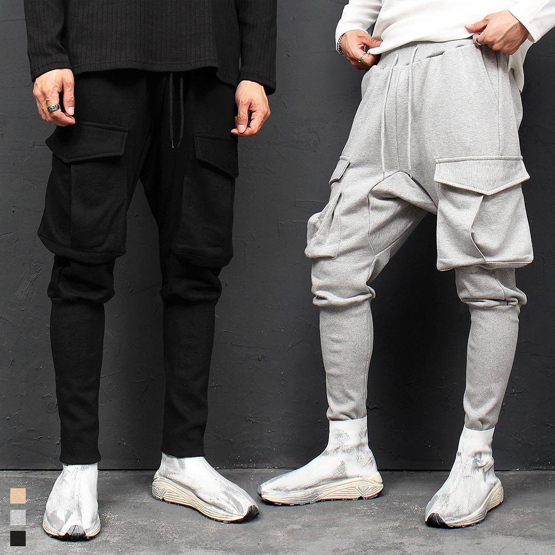 Big Cargo Pocket Long Ribbed Hem Baggy Jogger Sweatpants 113