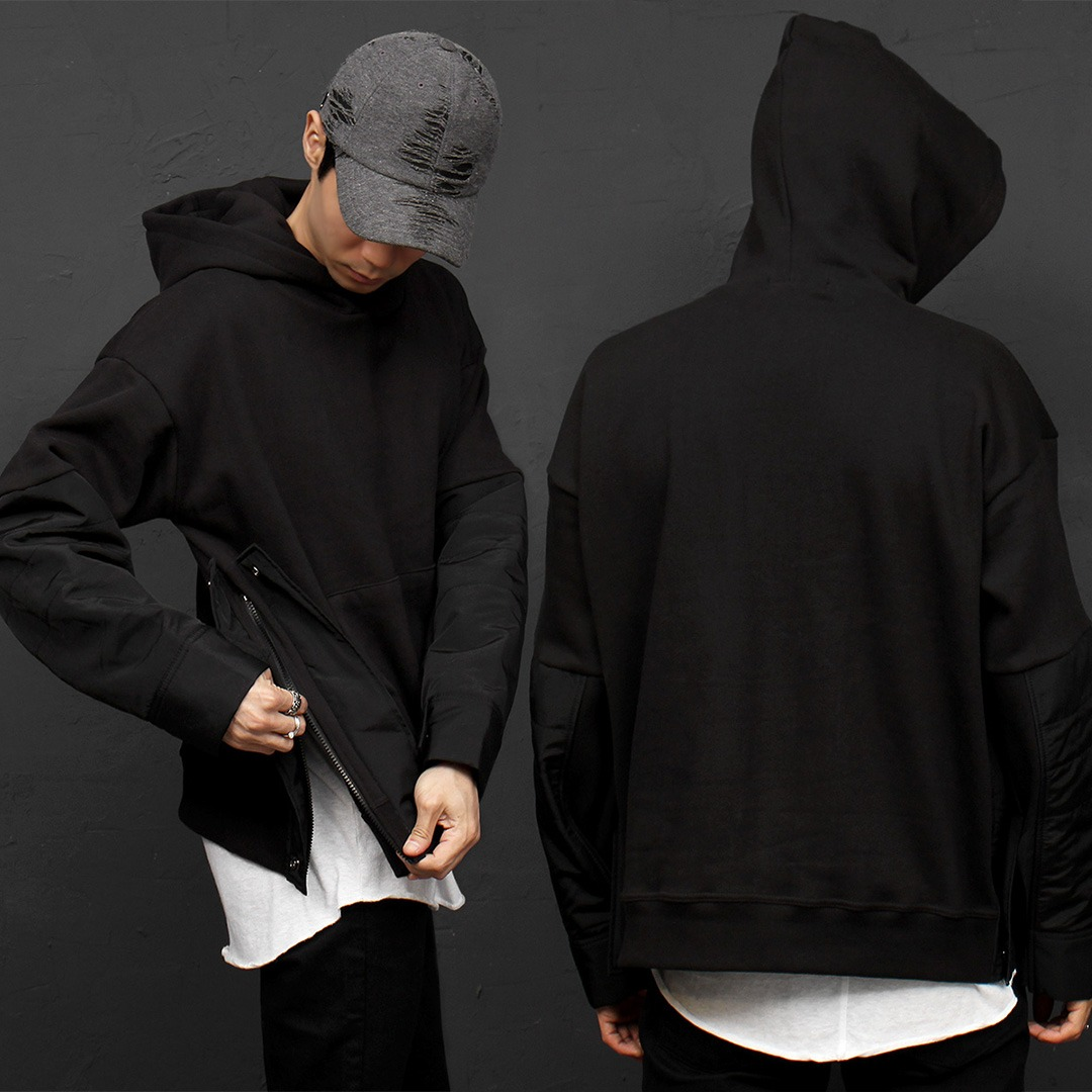 Zippered Split Side Snap Button Contrast Sleeve Hoodie 045