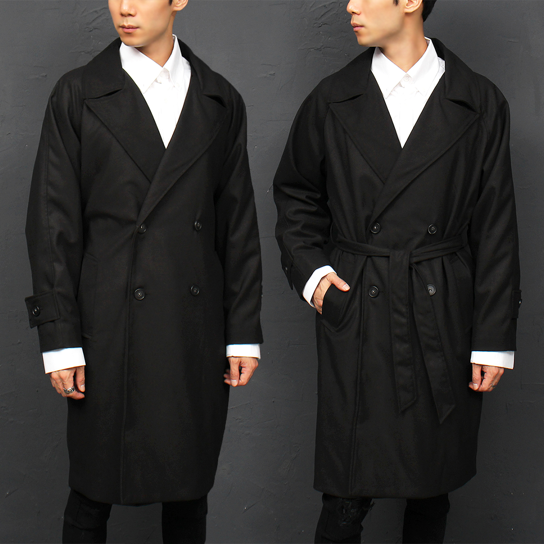 Loose Fit Double Button Long Trench Coat 004