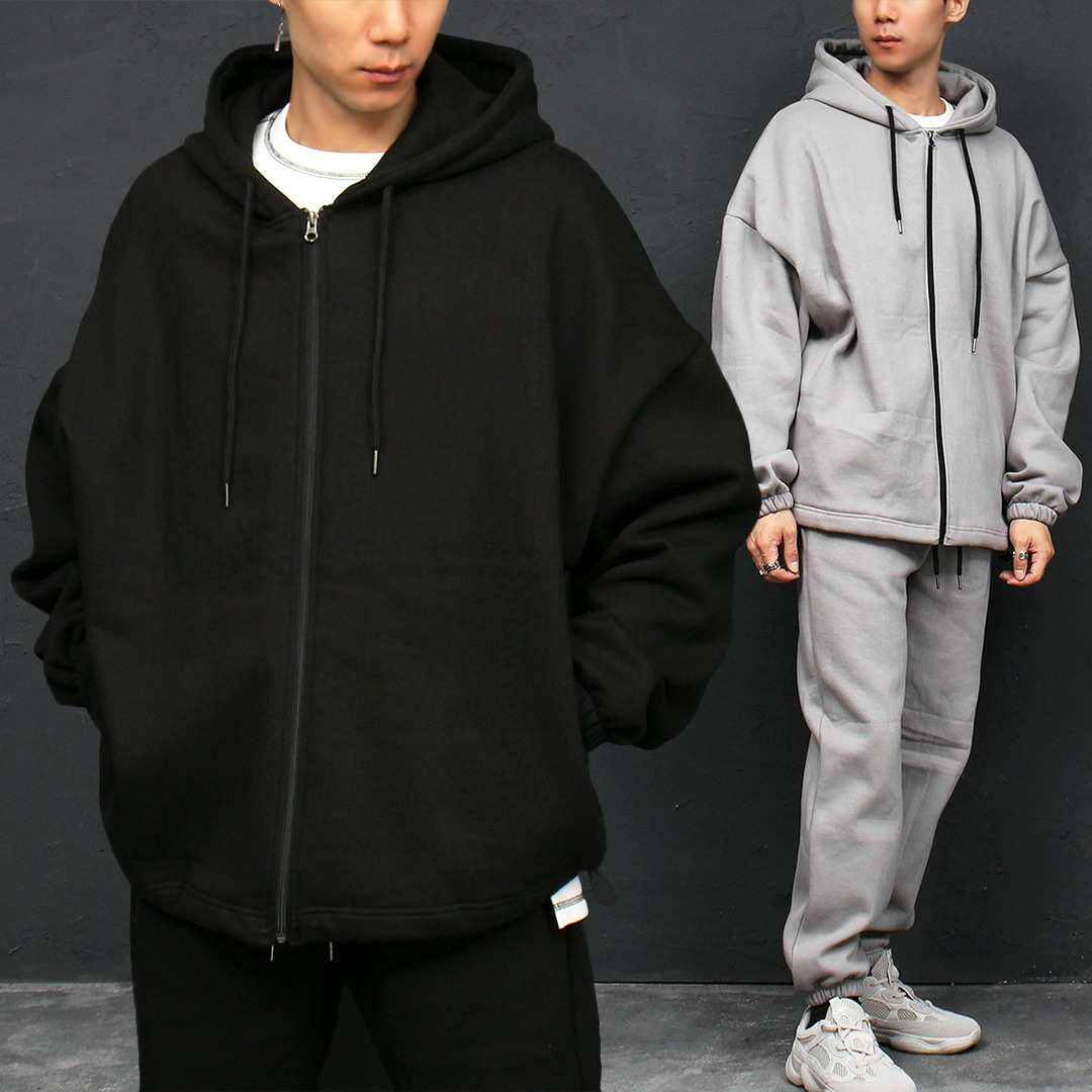 Loose Fit Fleecy Interior Zip Up Hoodie 019