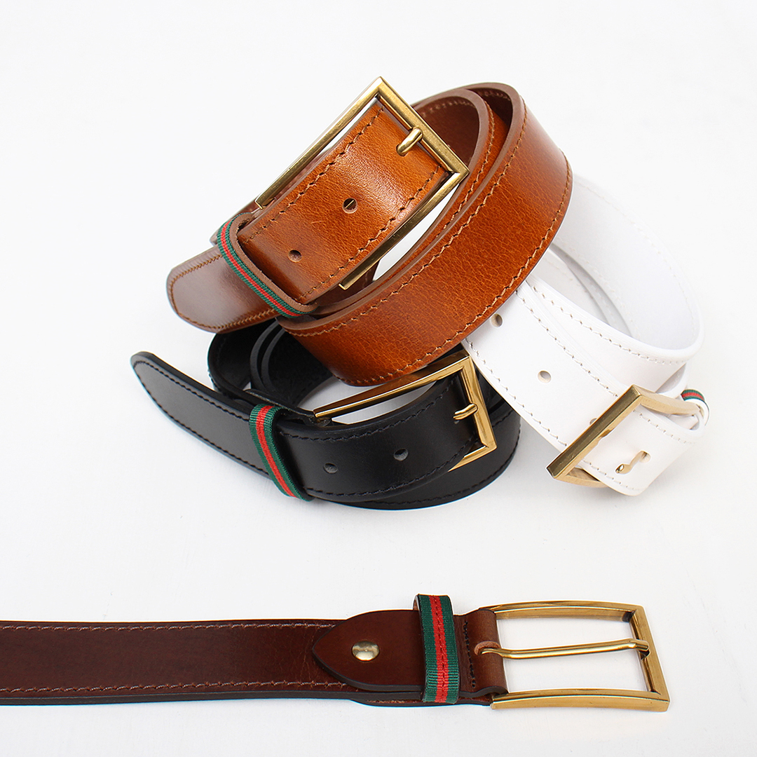 Gold Tone Square Buckle Leather Belt 107