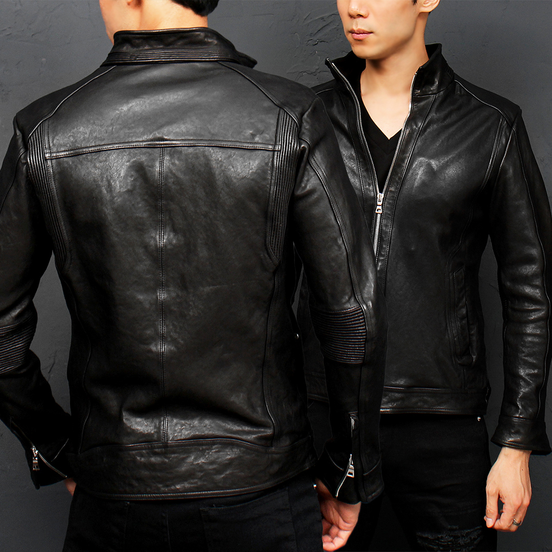 Turtle Neck Winkle Ribbed Lambskin Leather Rider Jacket 008
