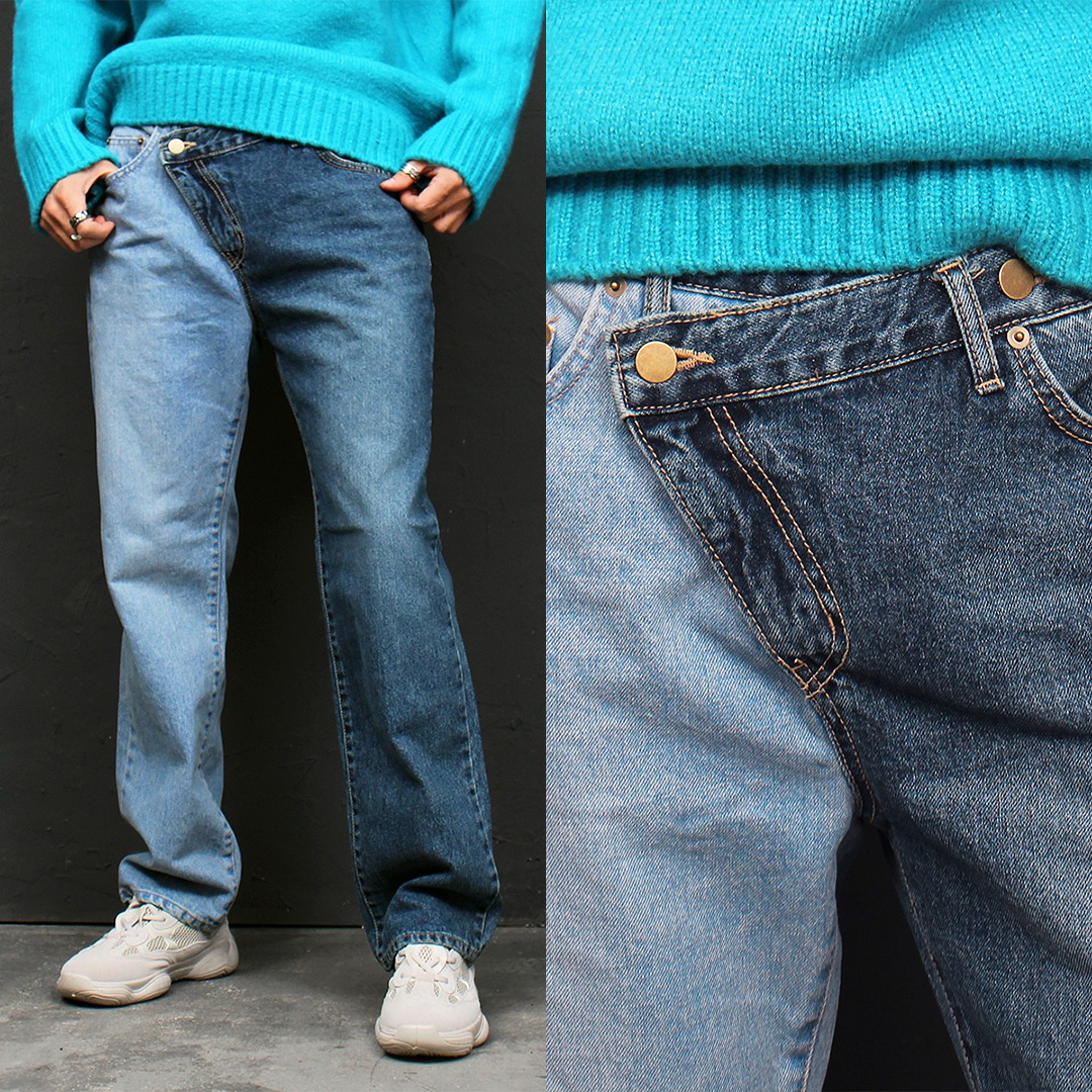 Contrast Half Color Unbalanced Zipper Blue Straight Jeans 116