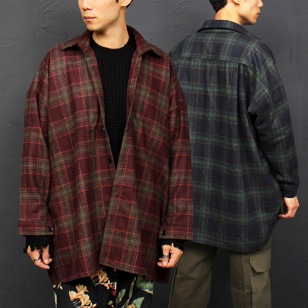 Checkered Pattern Big Over-sized Boxy Shirt Jacket 074