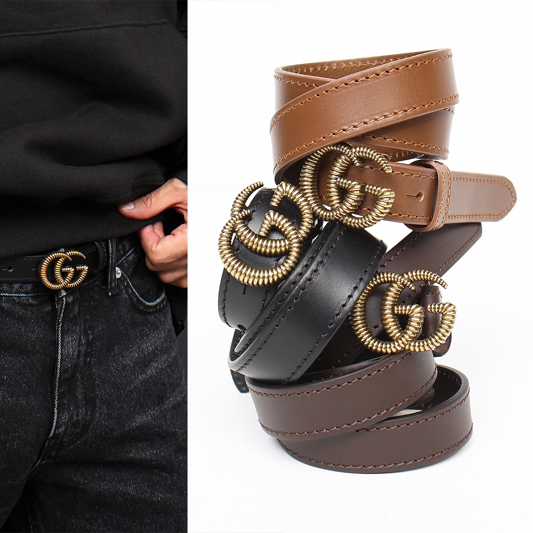 Double G Logo Buckle Leather Belt 105