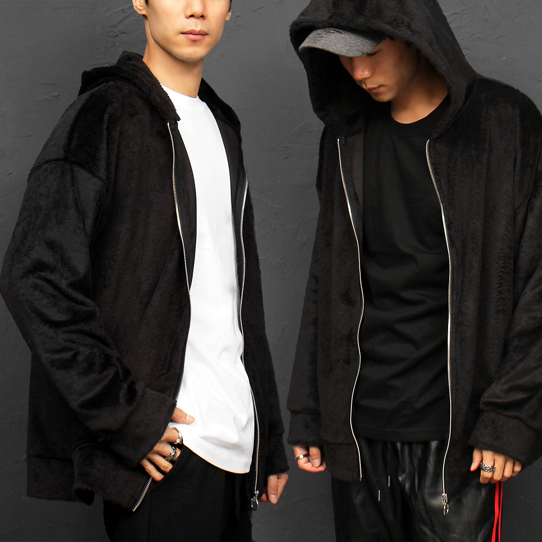 Synthetic Fur Zip Up Hoodie 016