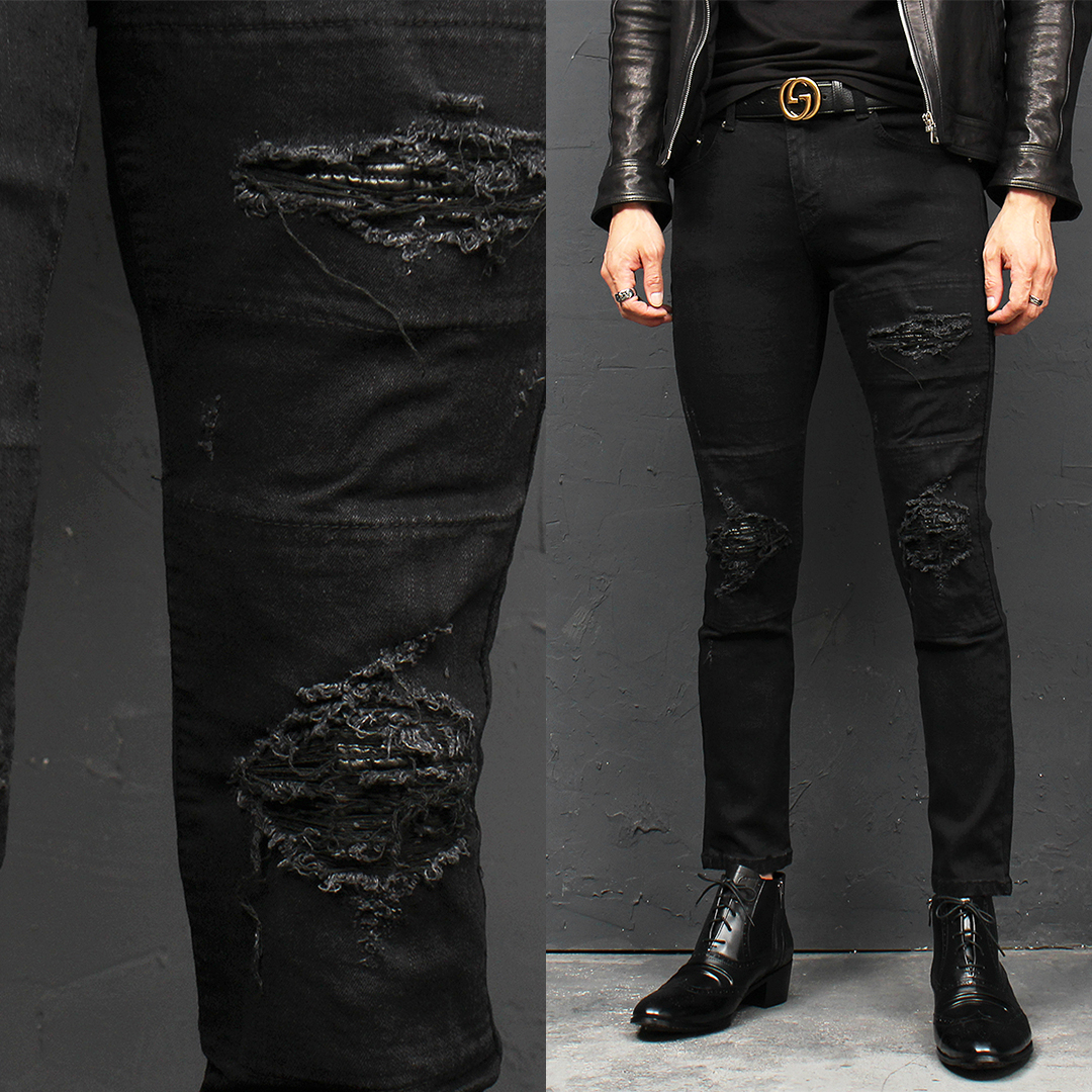 Vintage Distressed Layered Patch Black Skinny Jeans 108