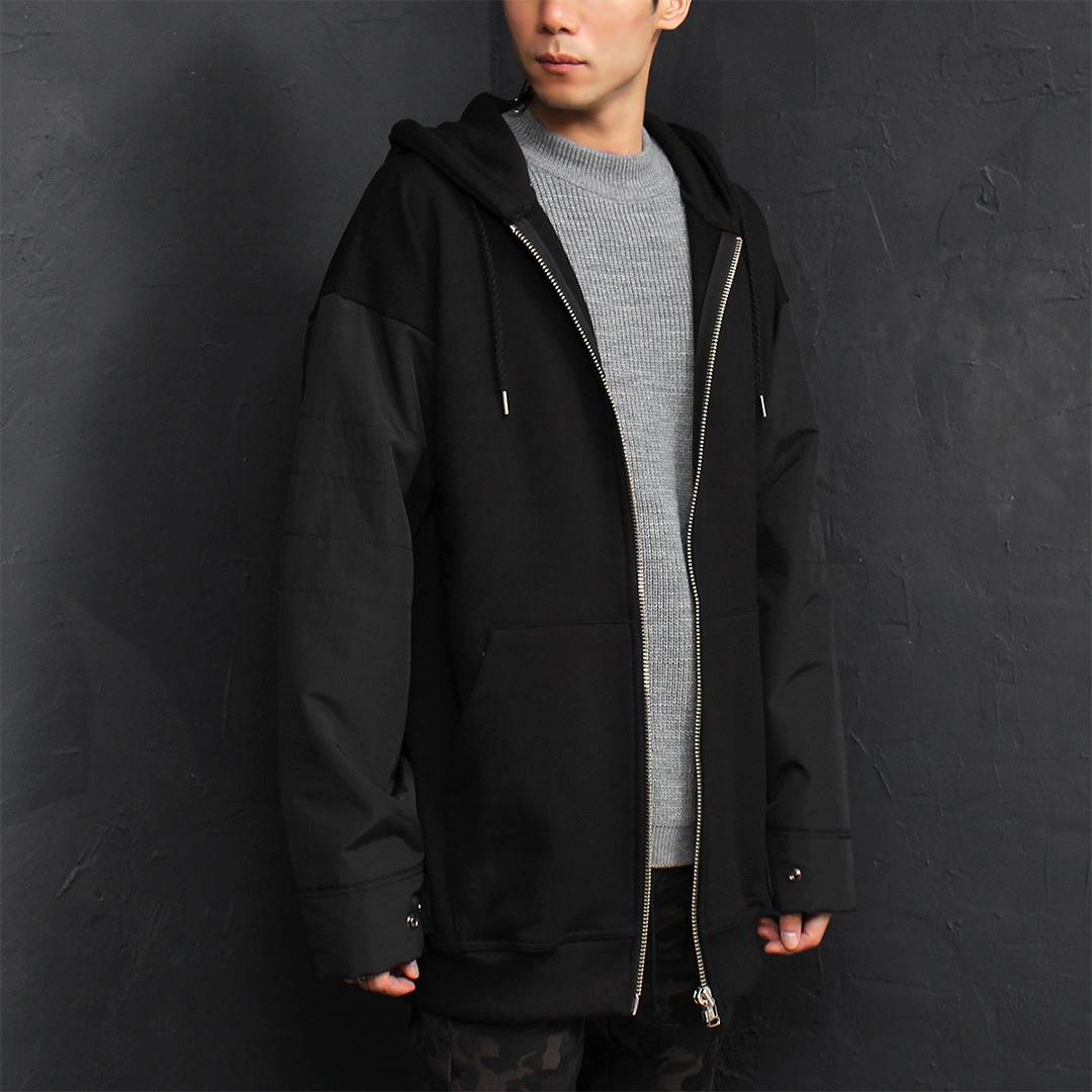 Contrast Sleeve Snap Button Cuff Zip Up Hoodie 024