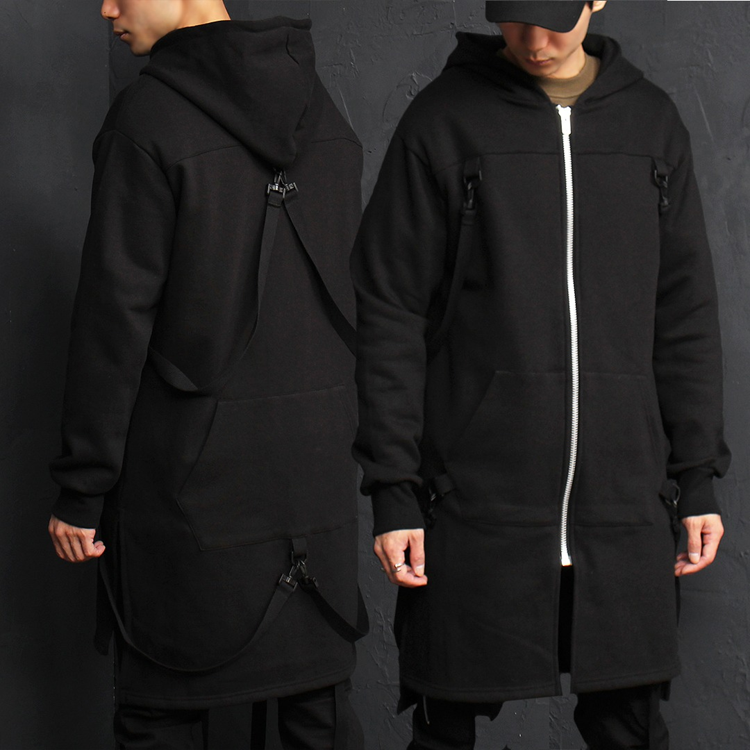 Tech Wear Buckle Strap Long Zip Up Hoodie 021