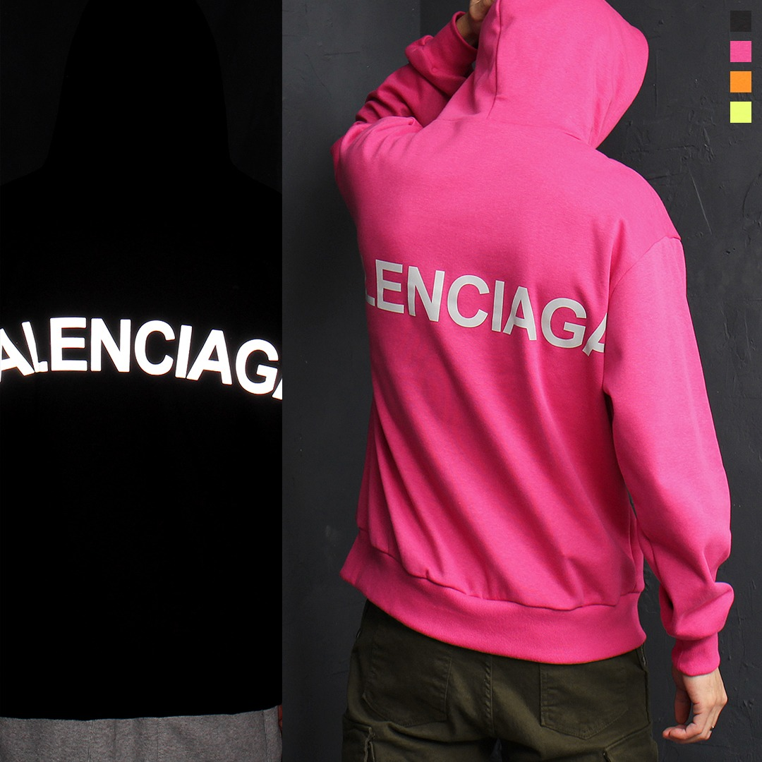 Graphic Reflective Logo Printing Boxy Hoodie 062