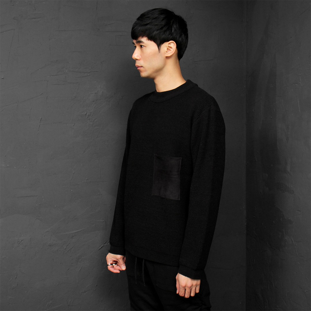 Contrast Suede Chest Pocket Knit Tee 026