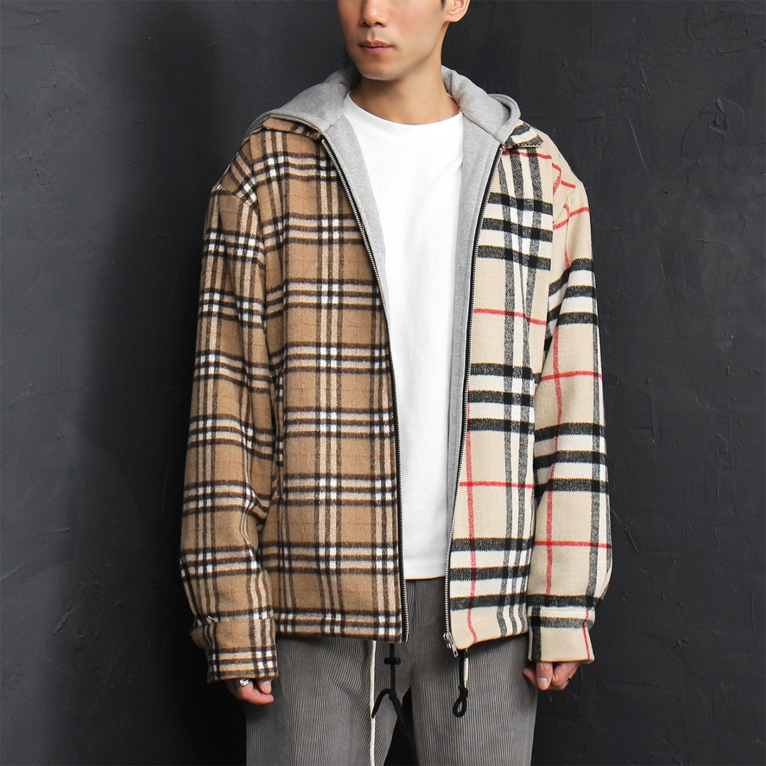 Half Check Pattern Fleecy Zip Up Hoodie 022