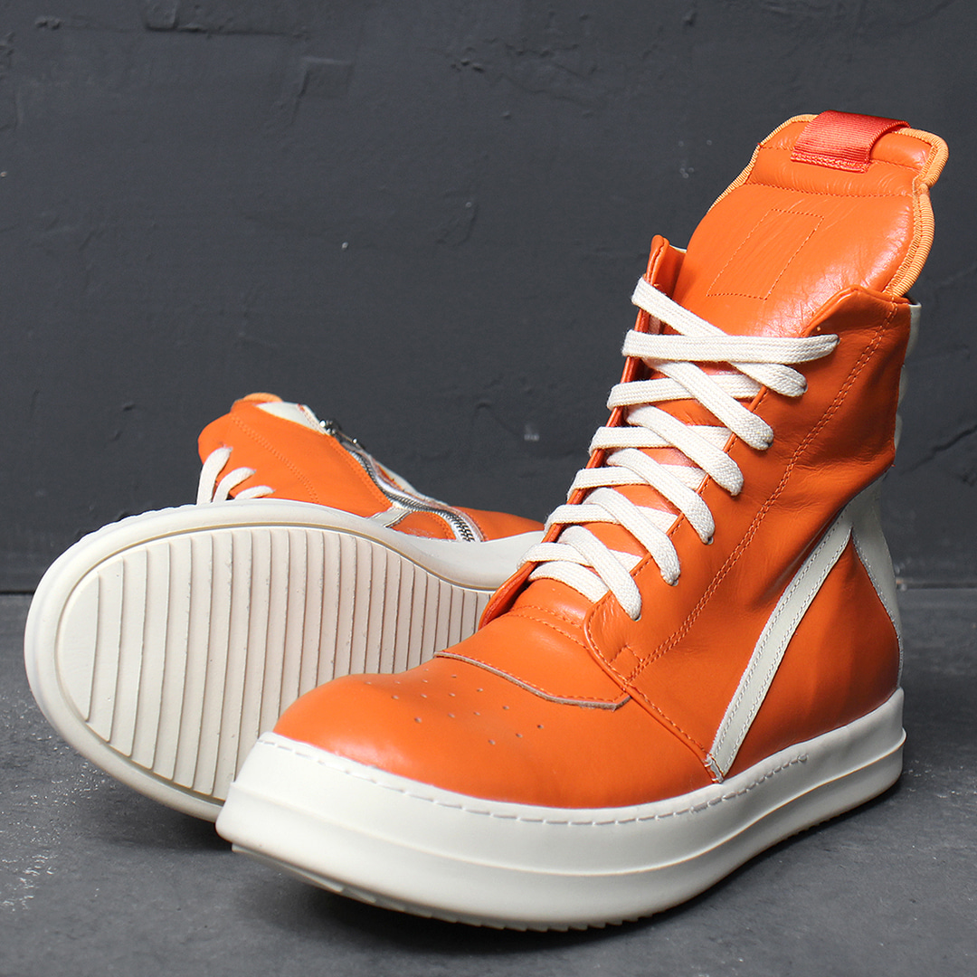 Over Tongue Zip Up High Top Orange Leather Sneakers 024