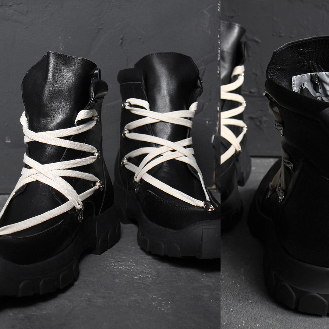 Over Tongue Unique Lace Up Leather High Top Sneakers 021