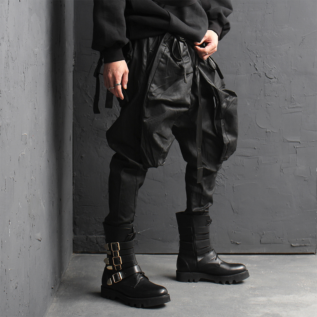Avant garde Tech Wear Low Crotch Faux Leather Baggy Pants 026