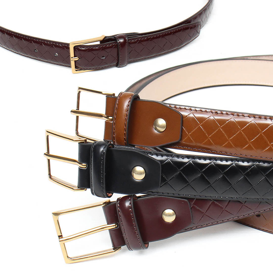Unisex Weave Pattern Cowhide Leather Square Buckle Leather Belt 027