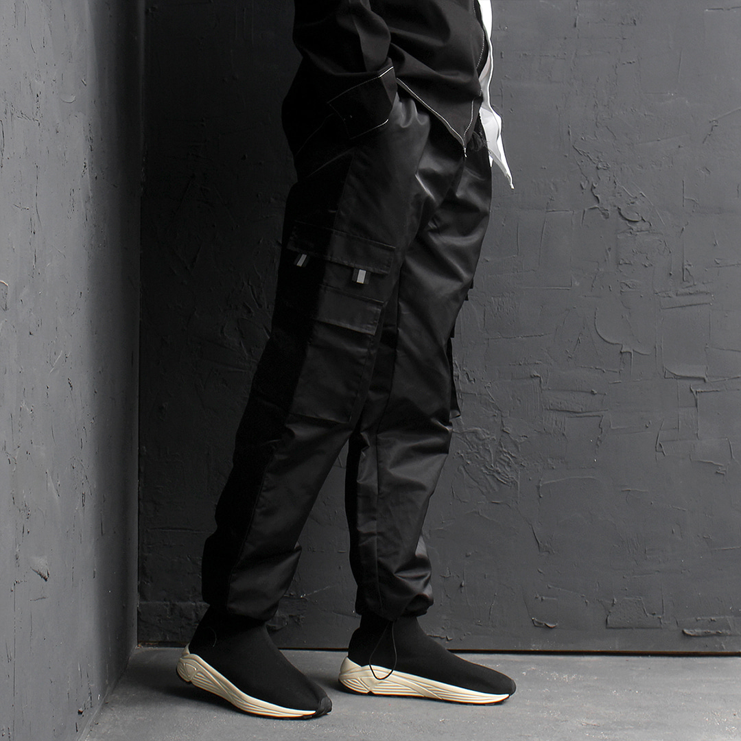 Cargo Pocket Drawstring Hem Jersey Jogger Sweatpants 112