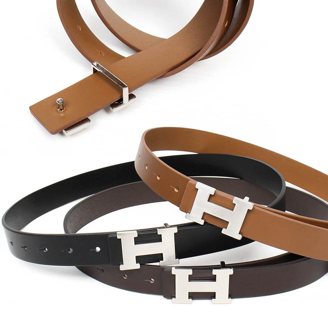 Silver Tone H Logo Buckle Leather Belt 029
