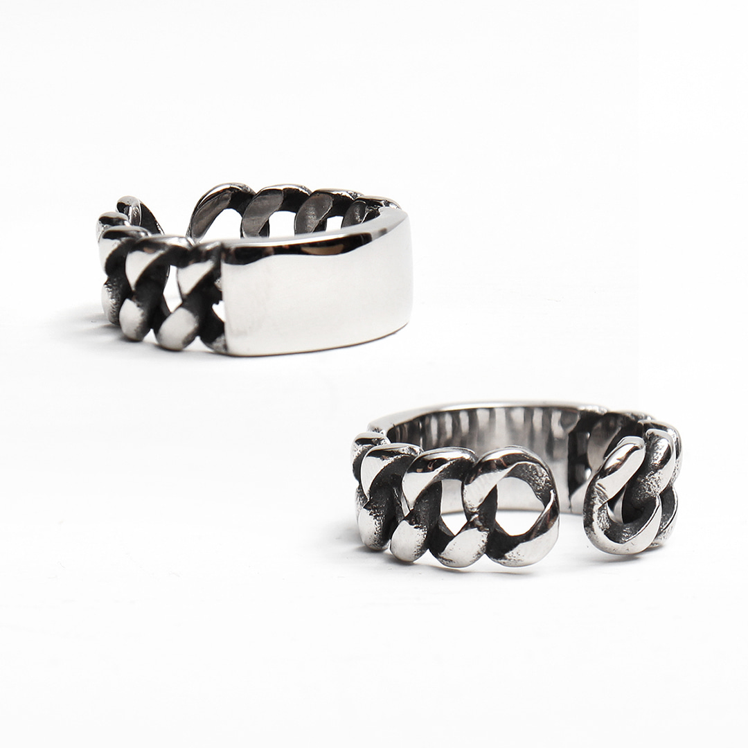 Intaglio Chain Surgical Stainless Steel Ring R79