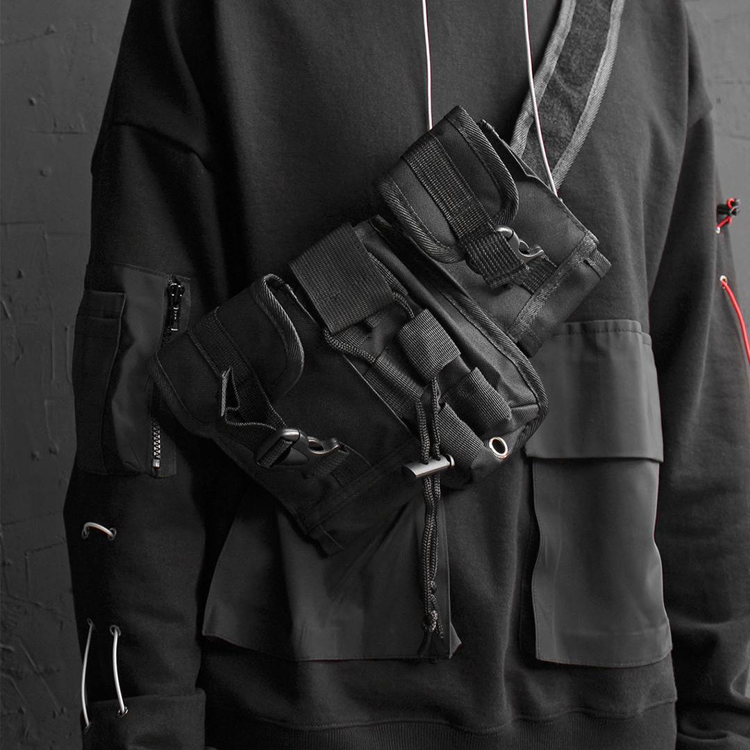 Techwear Look Buckle Belt Removable Pocket Bag 015
