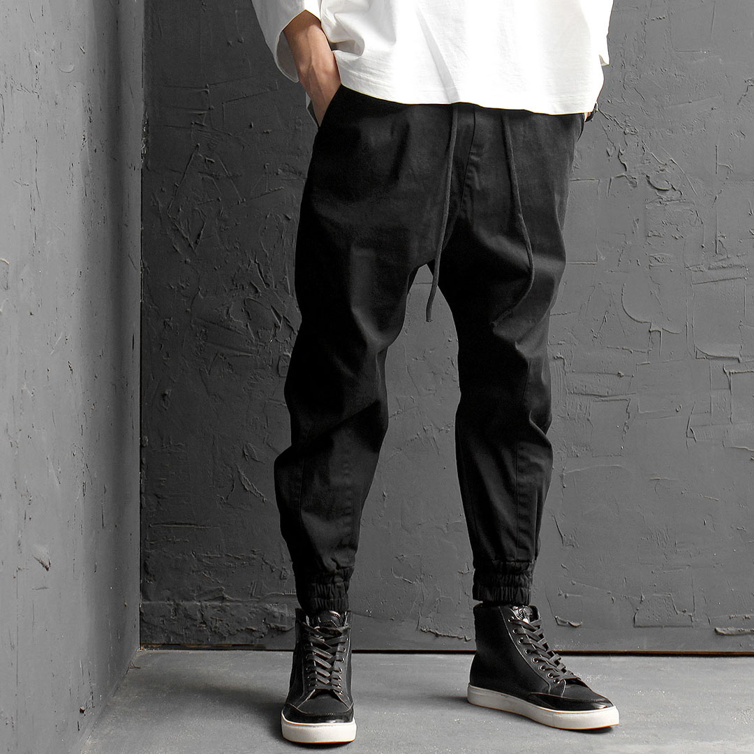 Slim Fit Black Low Crotch Jogger Pants 179