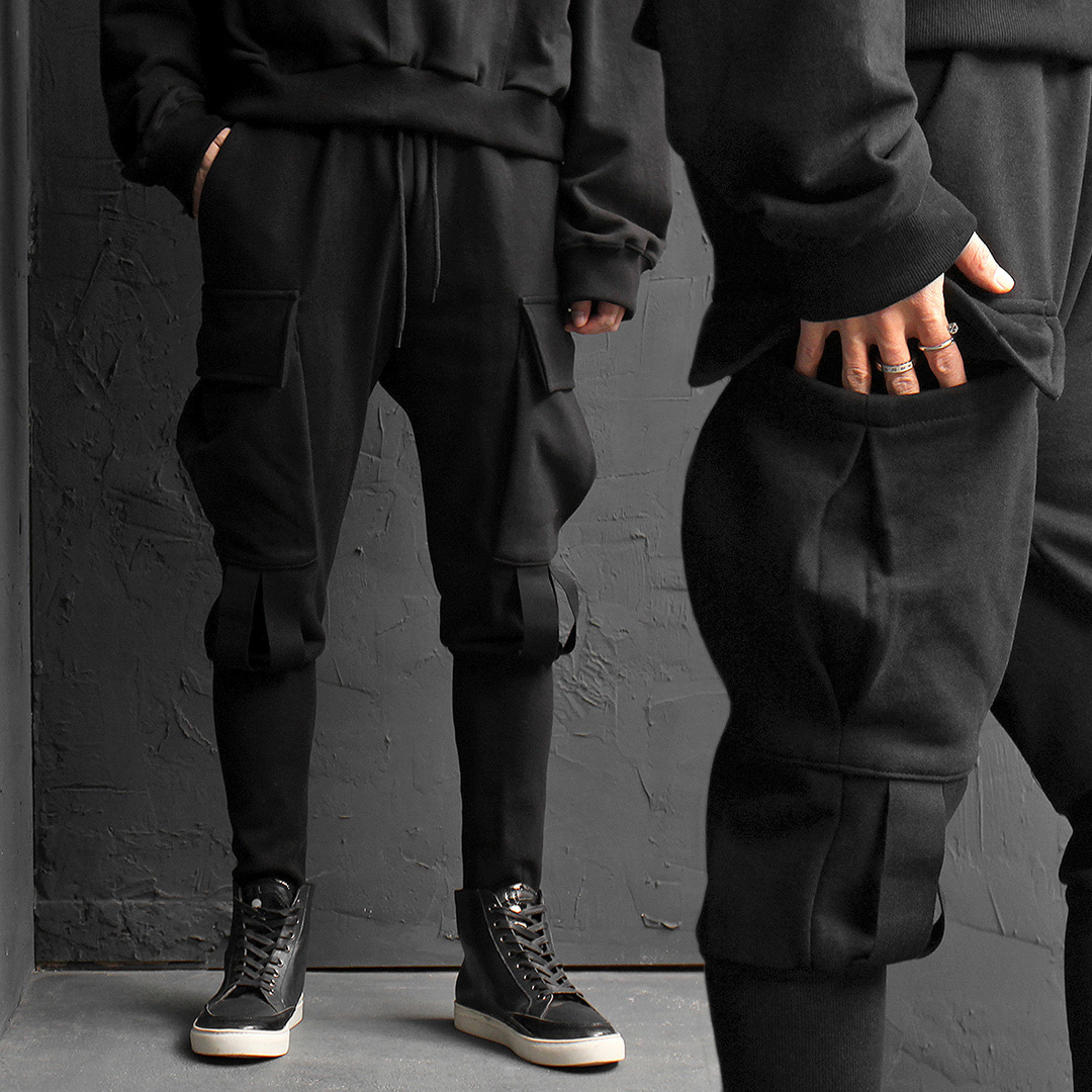 Big Cargo Pocket Long Ribbed Hem Baggy Jogger Sweatpants 175