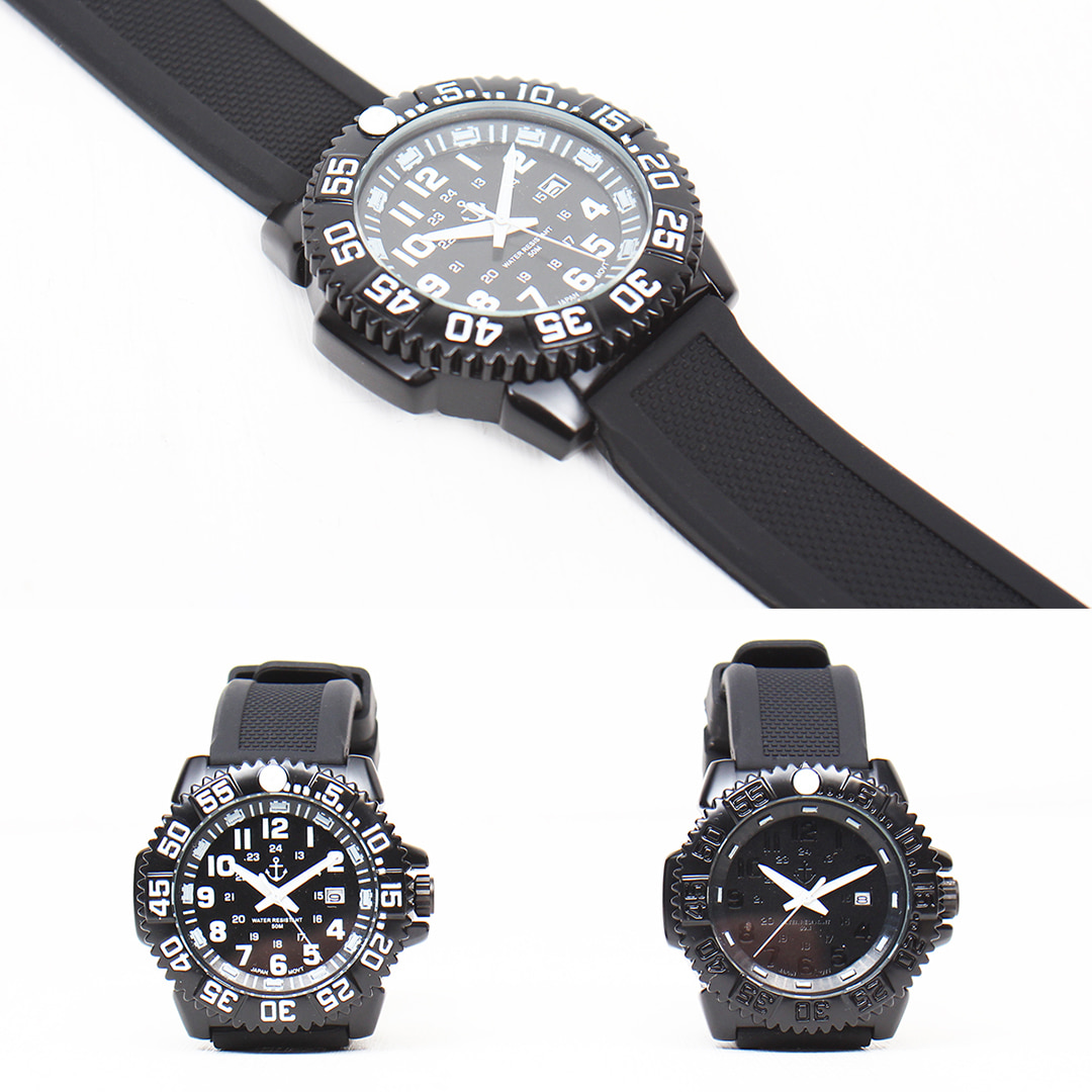 Contrast Black White Round Rubber Strap Water Resistant Watch 022