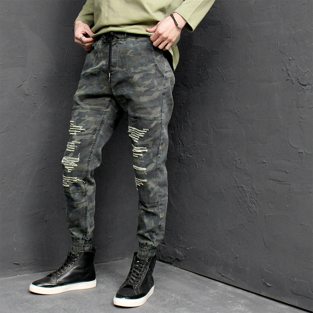 Vintage Washed Camouflage Distressed Jogger Pants 231