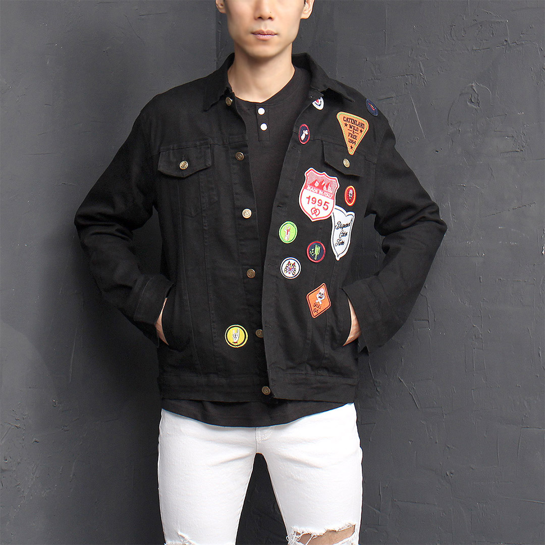 Multi Wappen Patch Denim Jacket 082