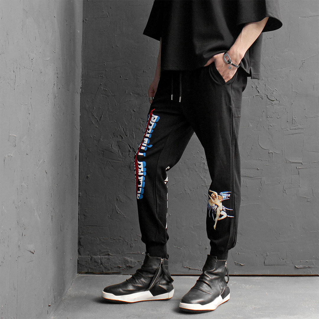 Multi Graphic Printing Jersey Baggy Joggers 181