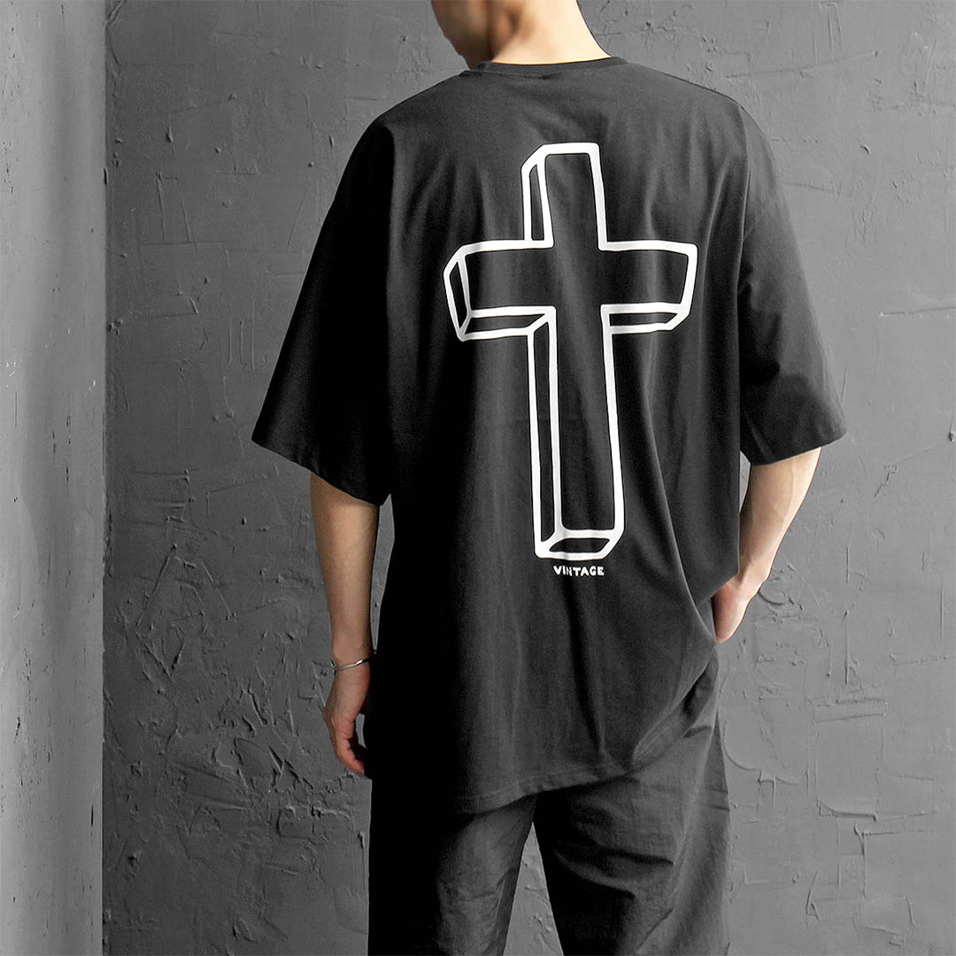 Vintage Graphic Cross Printing Boxy Half Sleeve Tee 372