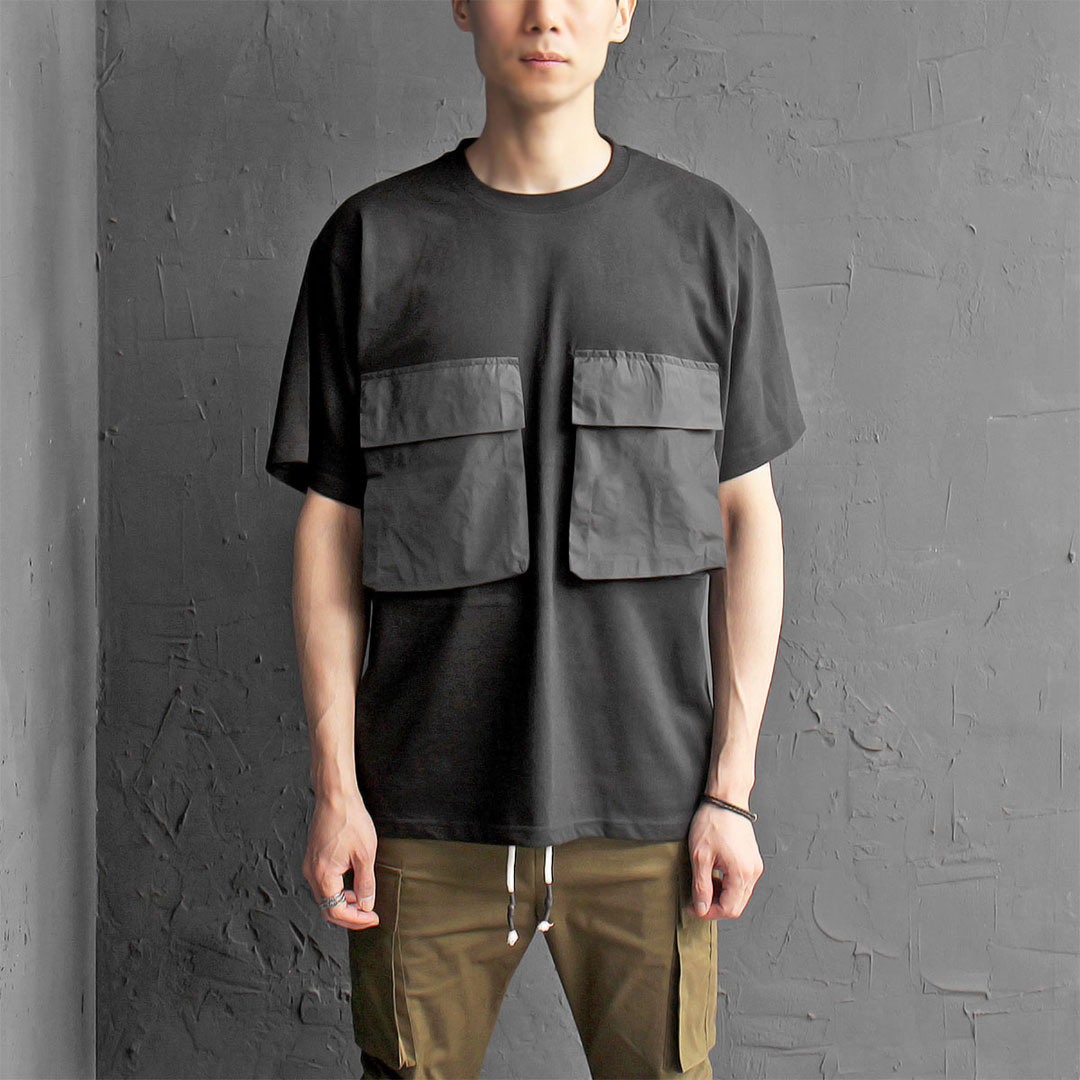 Contrast Woven Big Flap Pocket Short Sleeve Tee 371