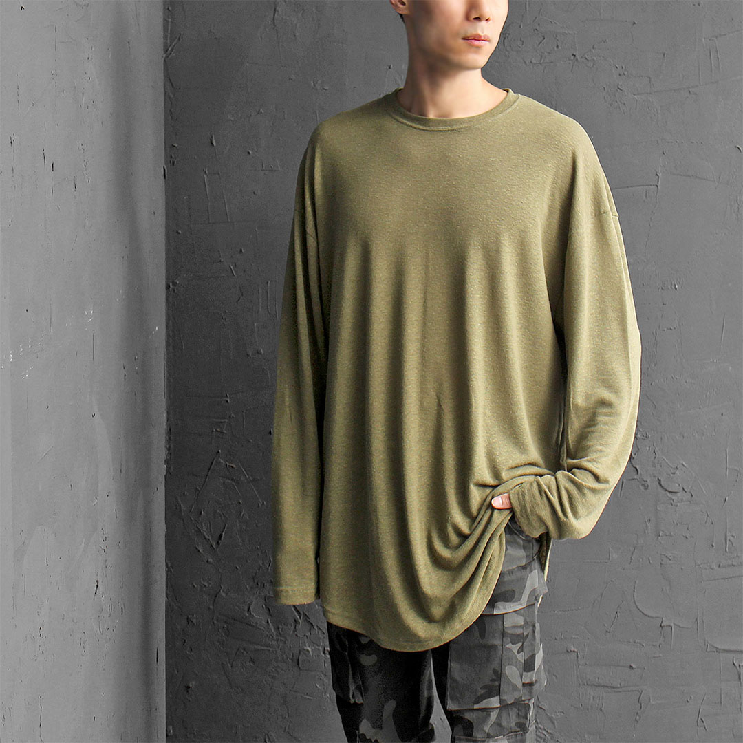 Loose Fit Summer Knit Boxy Blended Linen Long Sleeve Tee 363