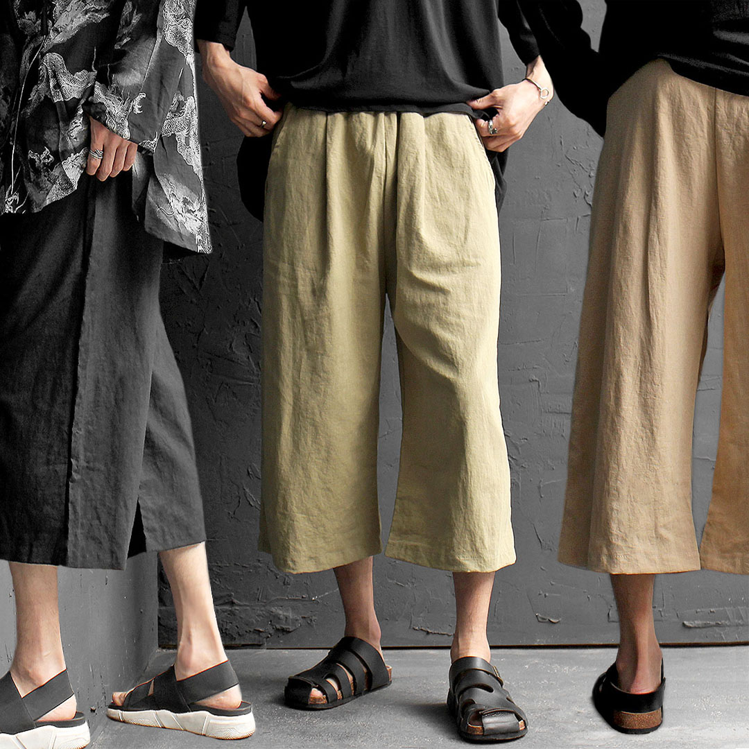 Elastic Waistband Drop Crotch Wide Linen 4/5 Baggy Pants 445