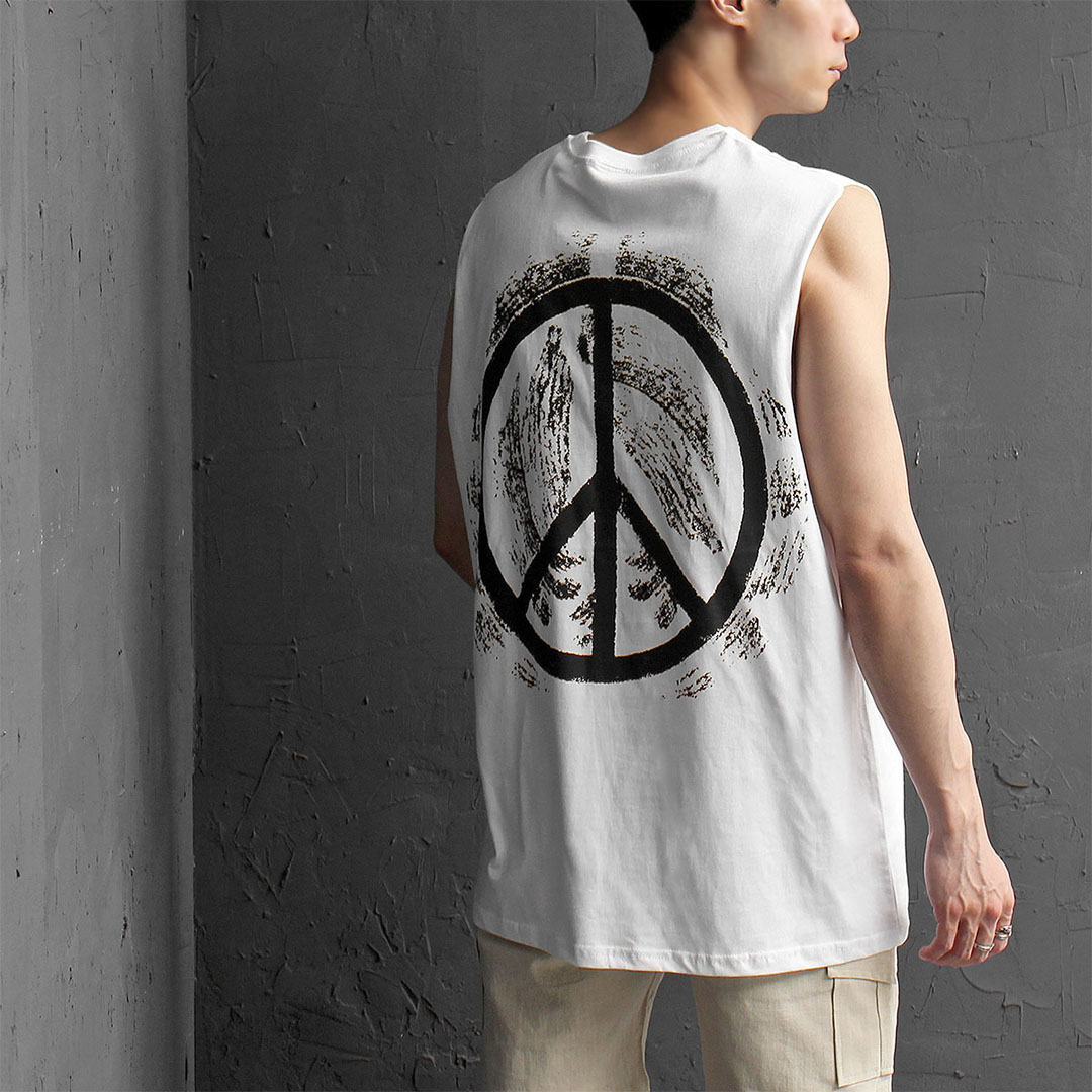 Loose Fit Piece Graphic Logo Printing Tank 504