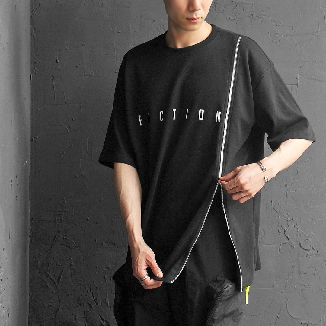 Tech Wear Side Long Zipper Boxy Short Sleeve Tee 498