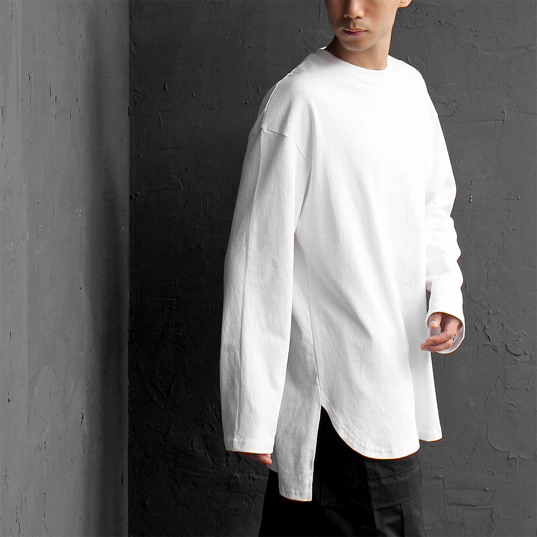 Oversized Loose Fit Unbalanced Split Side Hem Long Sleeve Tee 539