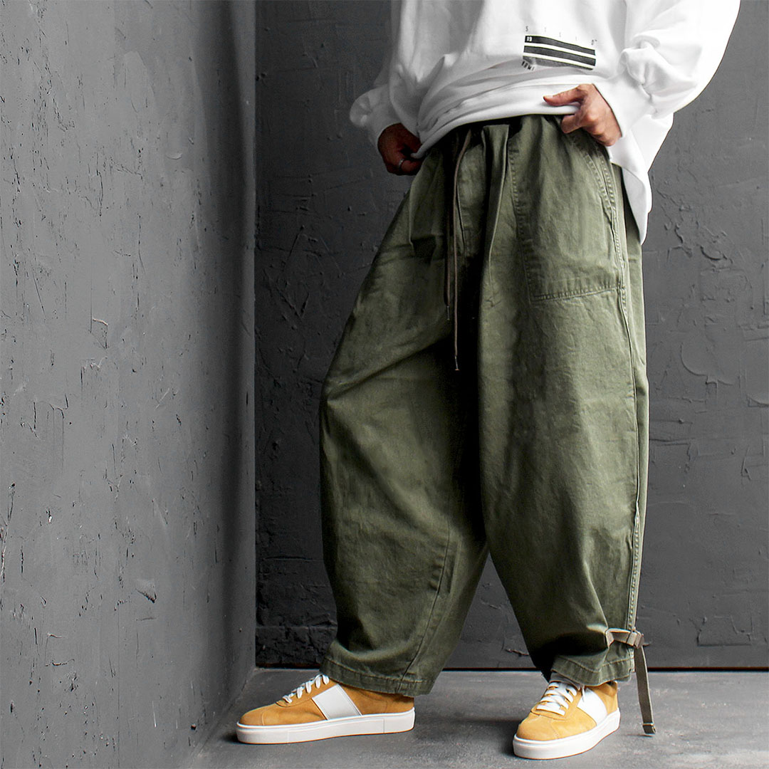 Oversized Wide Webbing Strap Hem Balloon Pants 553