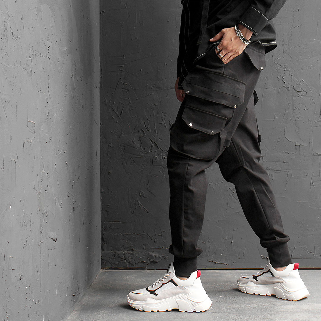 Techwear Slim Fit Big Cargo Pocket Joggers 568