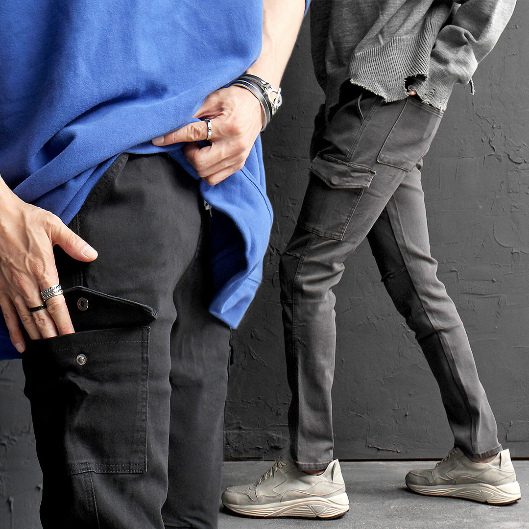 Elasticized Waistband Stretchable Denim Slim Cargo Pants 618