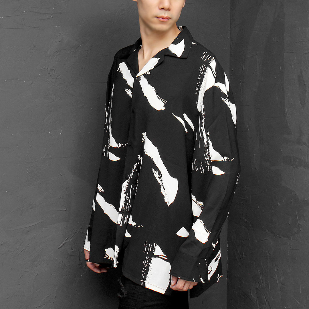 Oversized Silky Graphic Printing Split Side Shirt 663