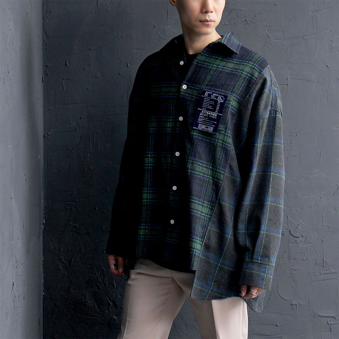 Oversized Unbalanced Hem Plaid Shirt 708