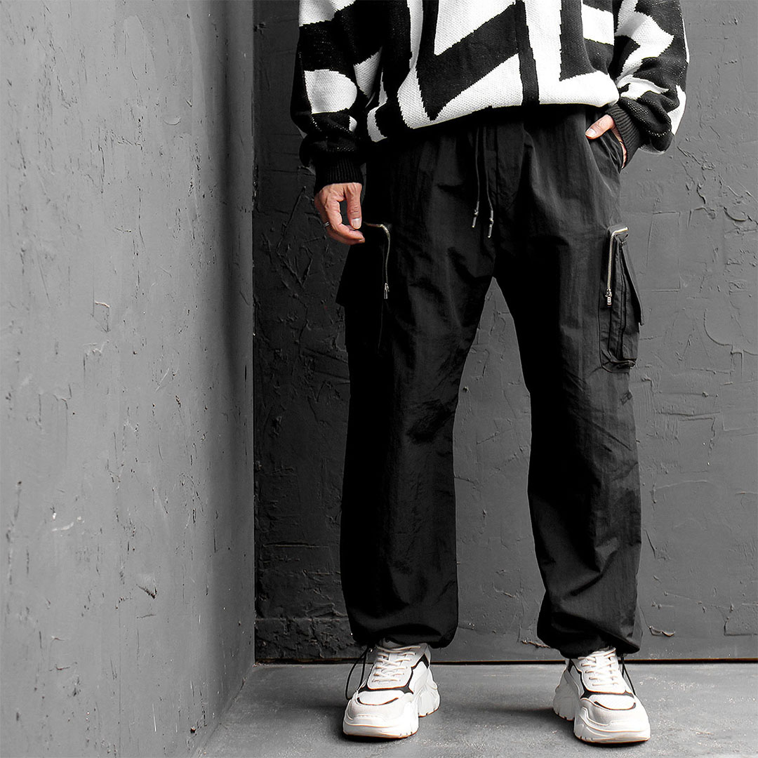 Double Cargo Zipper Wide Jersey Pants 731